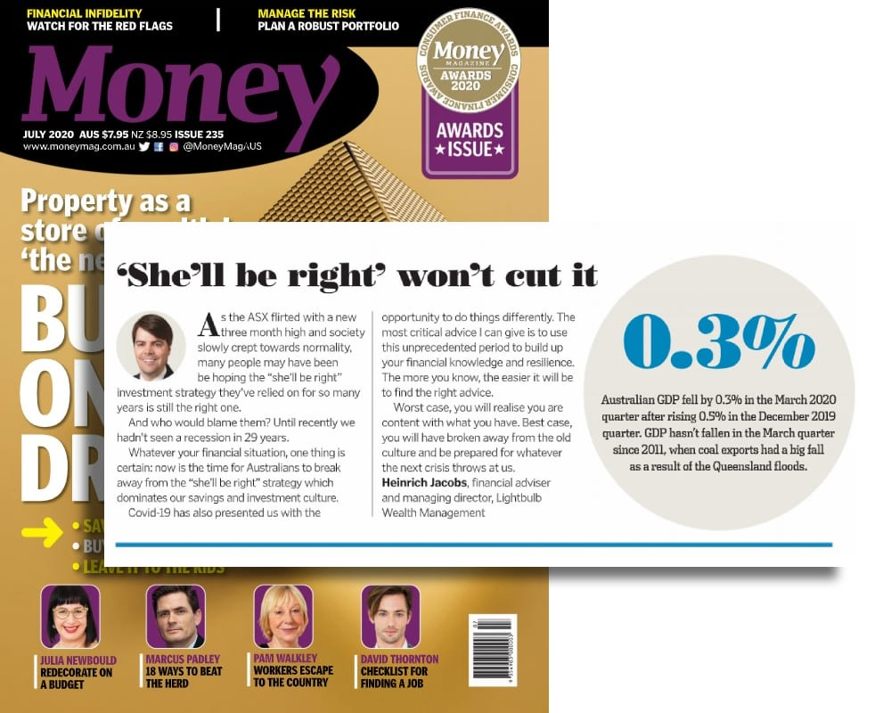 Lightbulb MD's views on Australia's 'she'll be right' investment culture featured in July's Money Magazine